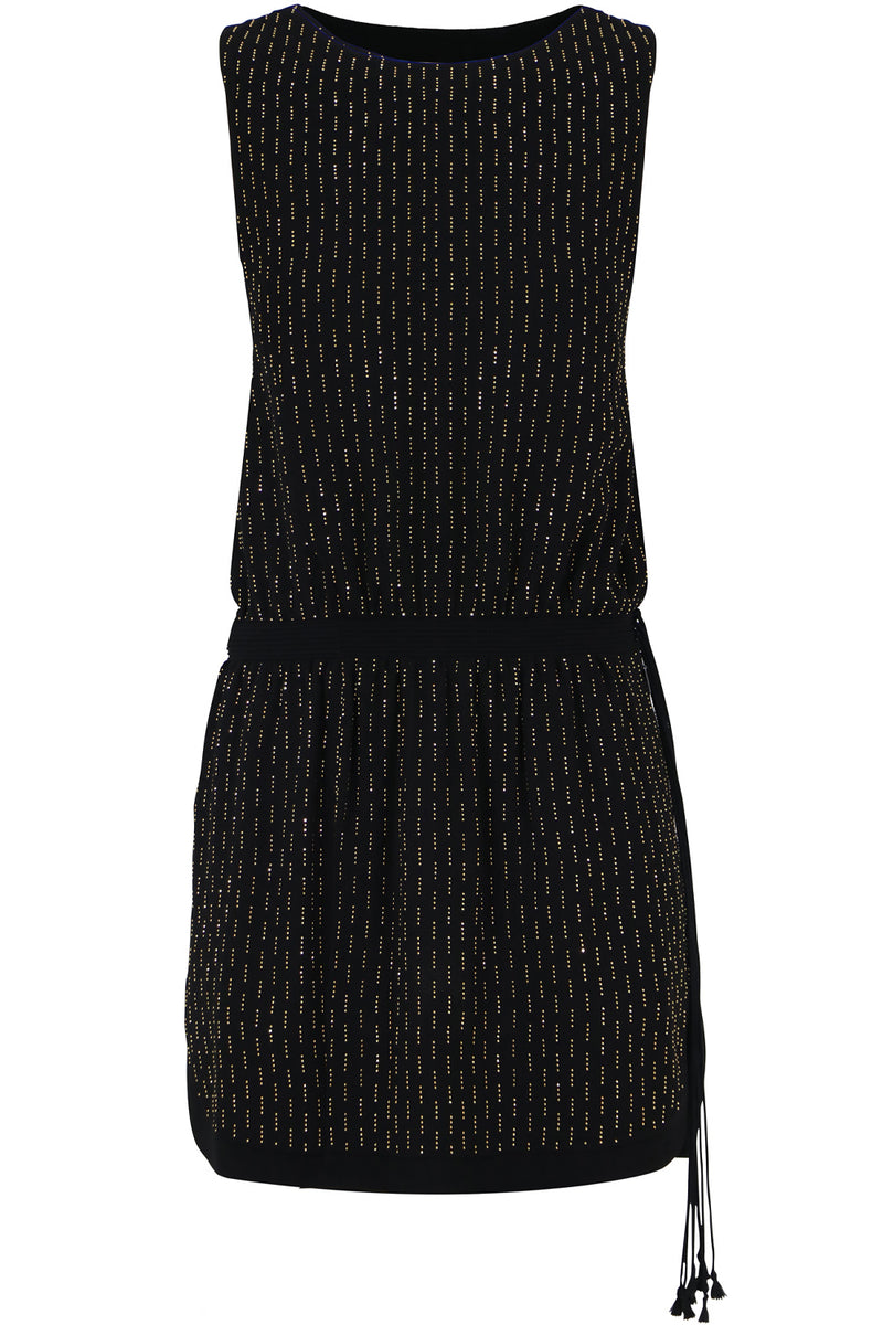 MICRO STUDDED DROP WAIST MINI DRESS S/LESS BLACK