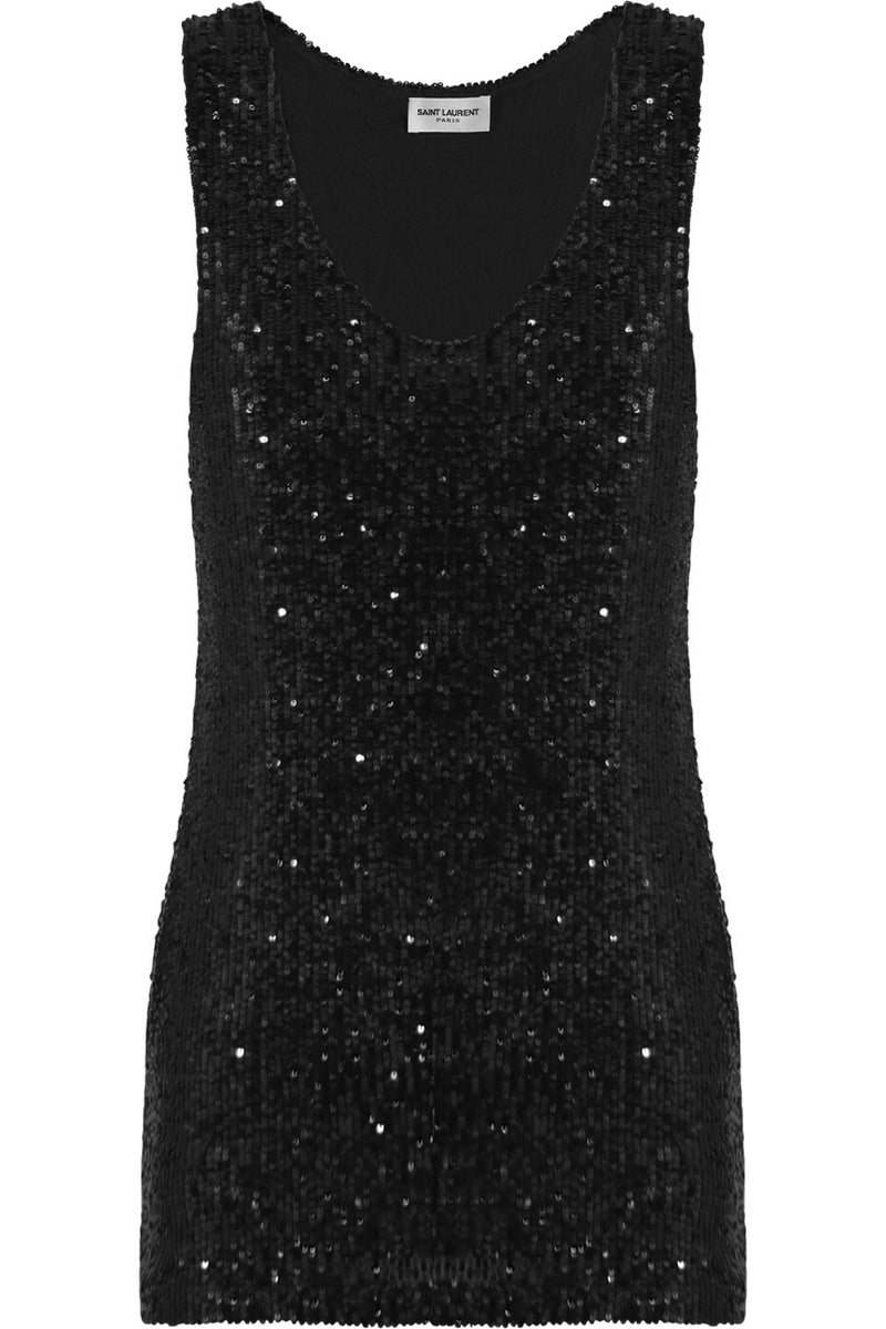 SEQUINED TANK TOP BLACK