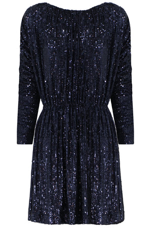 SEQUIN MINI DRESS L/S MARINE