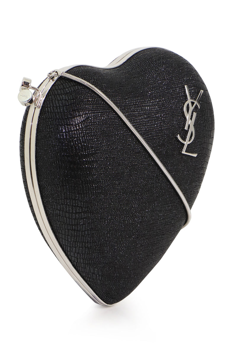 LOVE BOX CLUTCH BLACK LIZARD