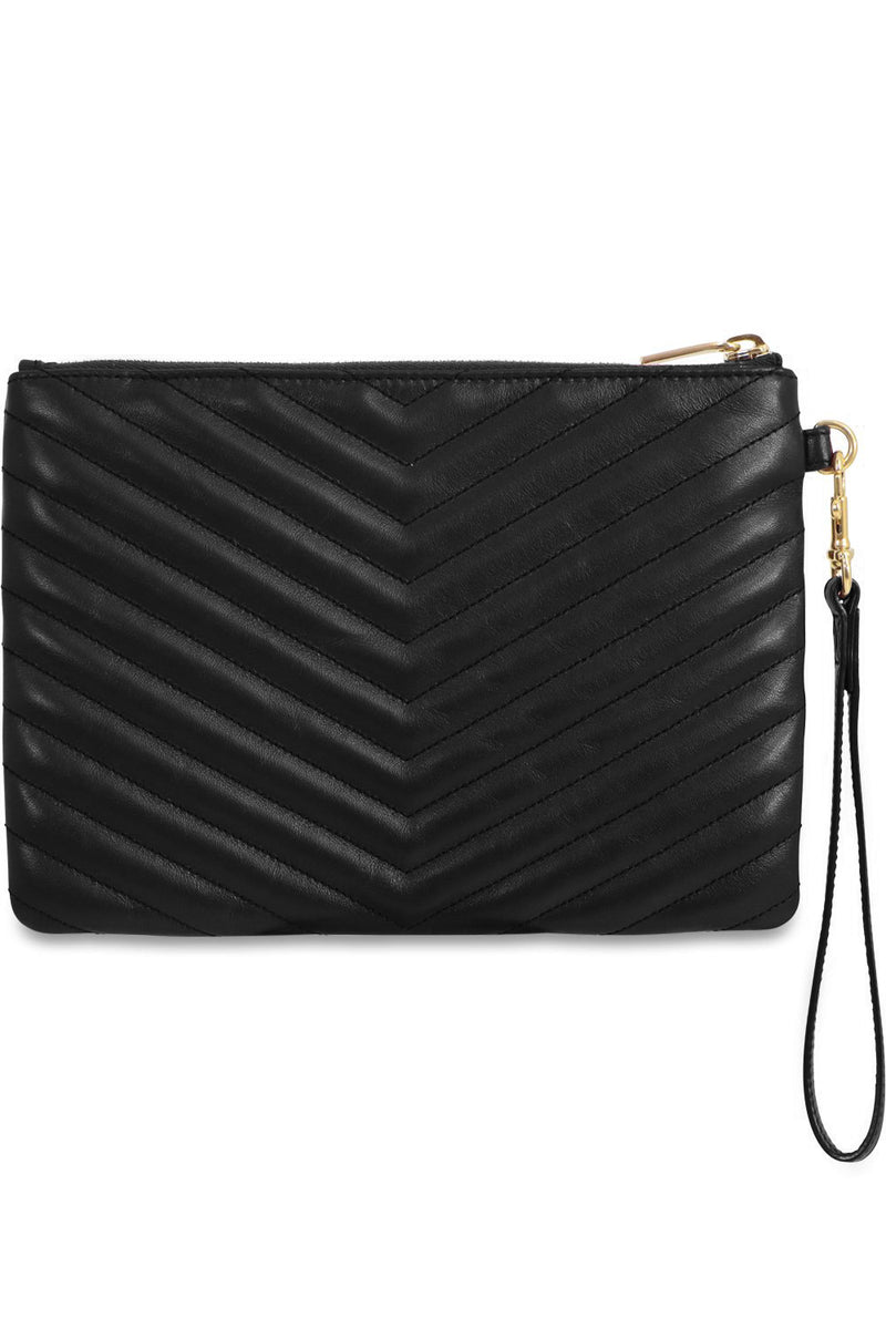 SMALL MONOGRAMME QUILTED POUCH BLACK/GOLD