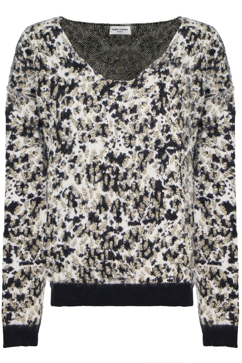 ANIMAL PRINT SCOOP NECK KNIT L/S T MULTI