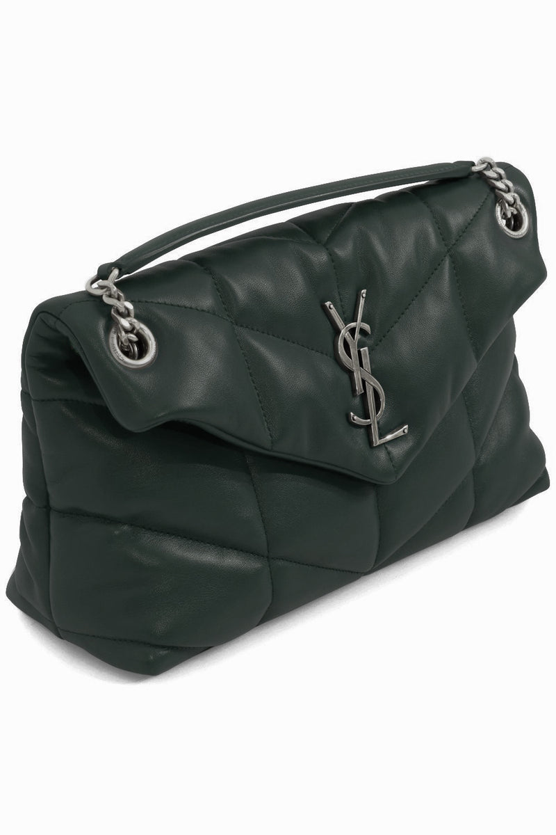LOULOU SMALL PUFFER BAG DARK GREEN/SILVER