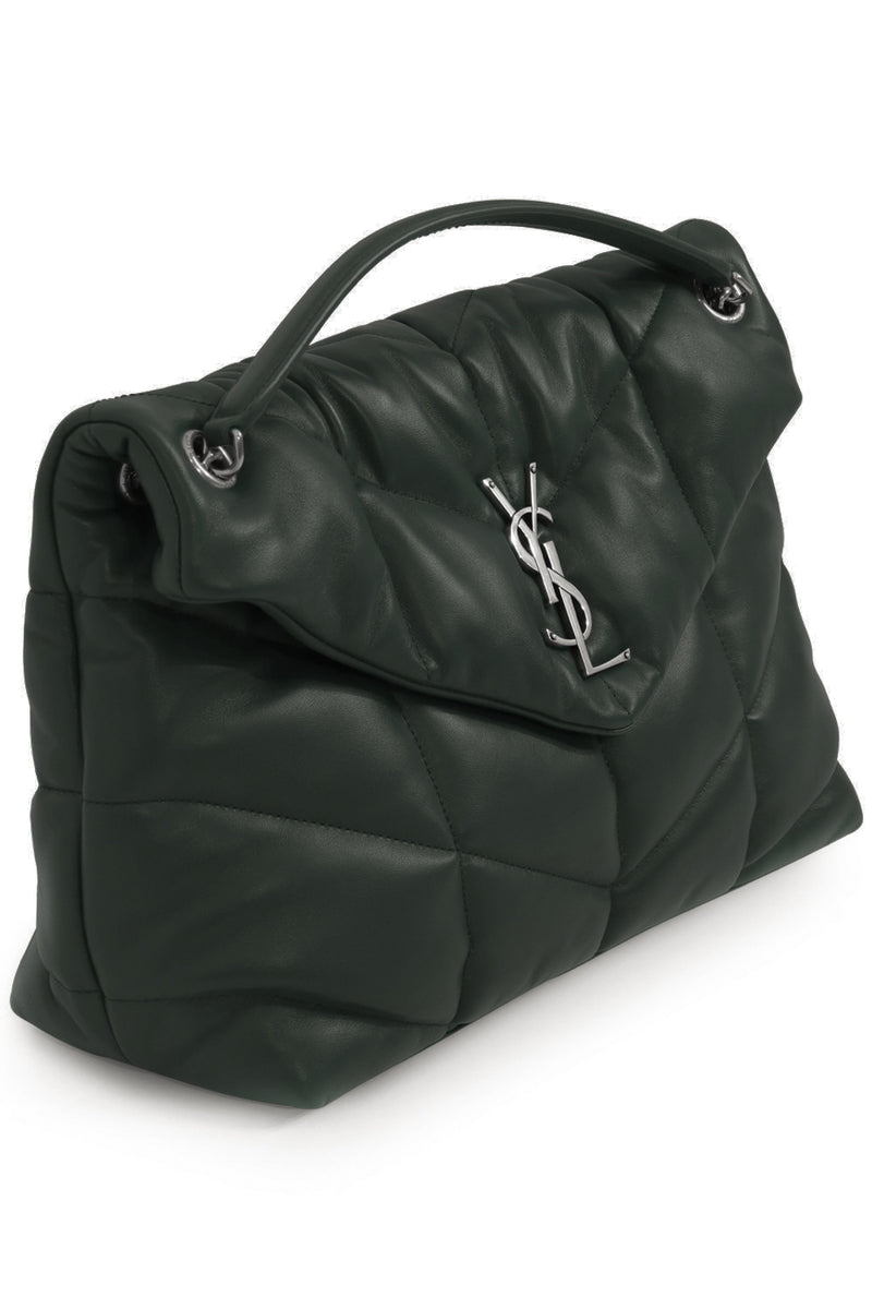 LOULOU MEDIUM PUFFER BAG GREEN/SILVER