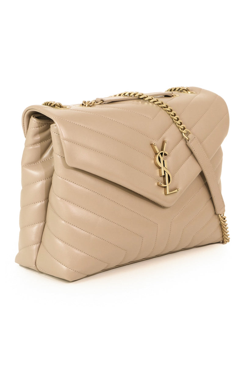 LOULOU MEDIUM FLAP BAG DARK BEIGE/GOLD