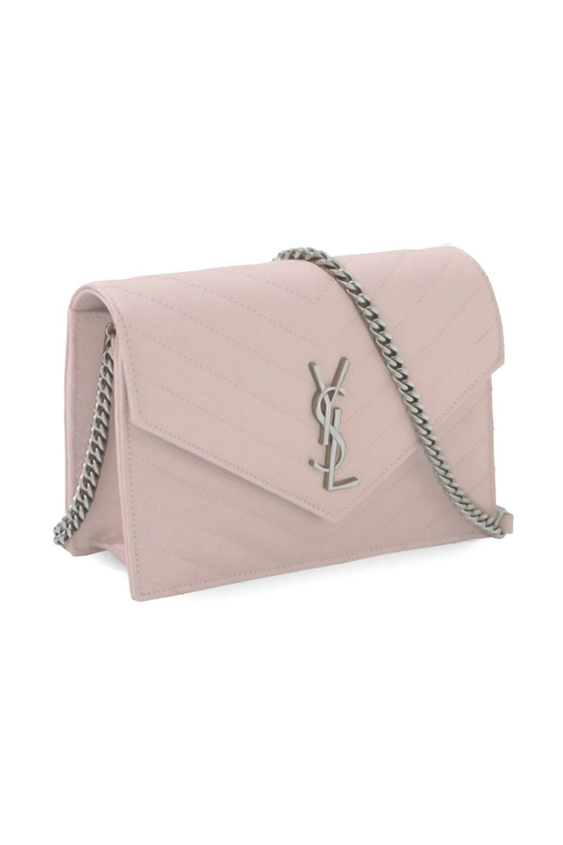 MONOGRAMME ENVELOPE QUILTED CHAIN WALLET MARBLE PINK/SILVER