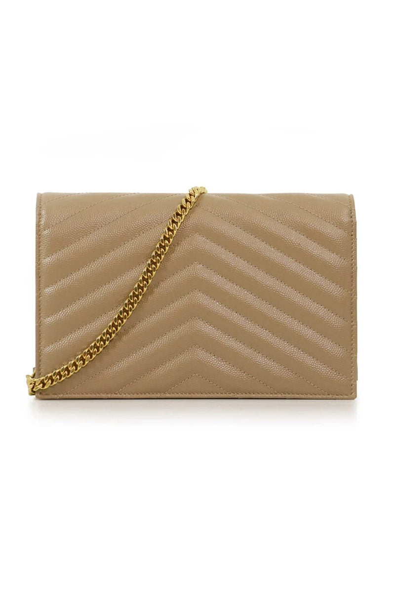MONOGRAMME ENVELOPE QUILTED CHAIN WALLET DARK LATTE/GOLD