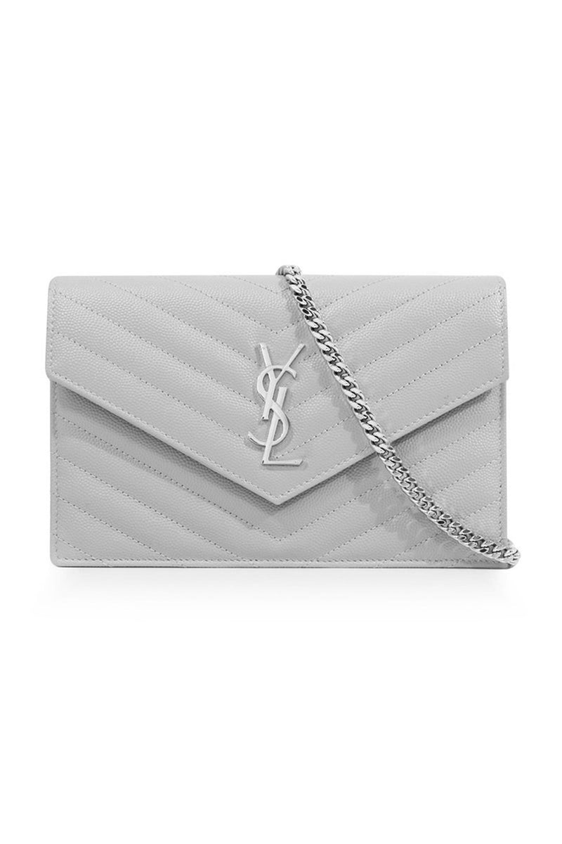 MONOGRAMME ENVELOPE QUILTED CHAIN WALLET GRANITE/SILVER