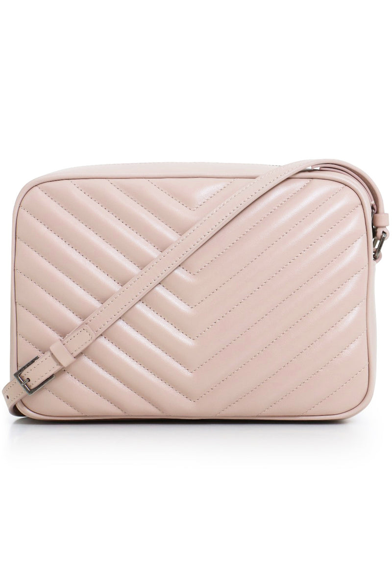 LOU QUILTED CAMERA BAG MARBLE PINK/SILVER