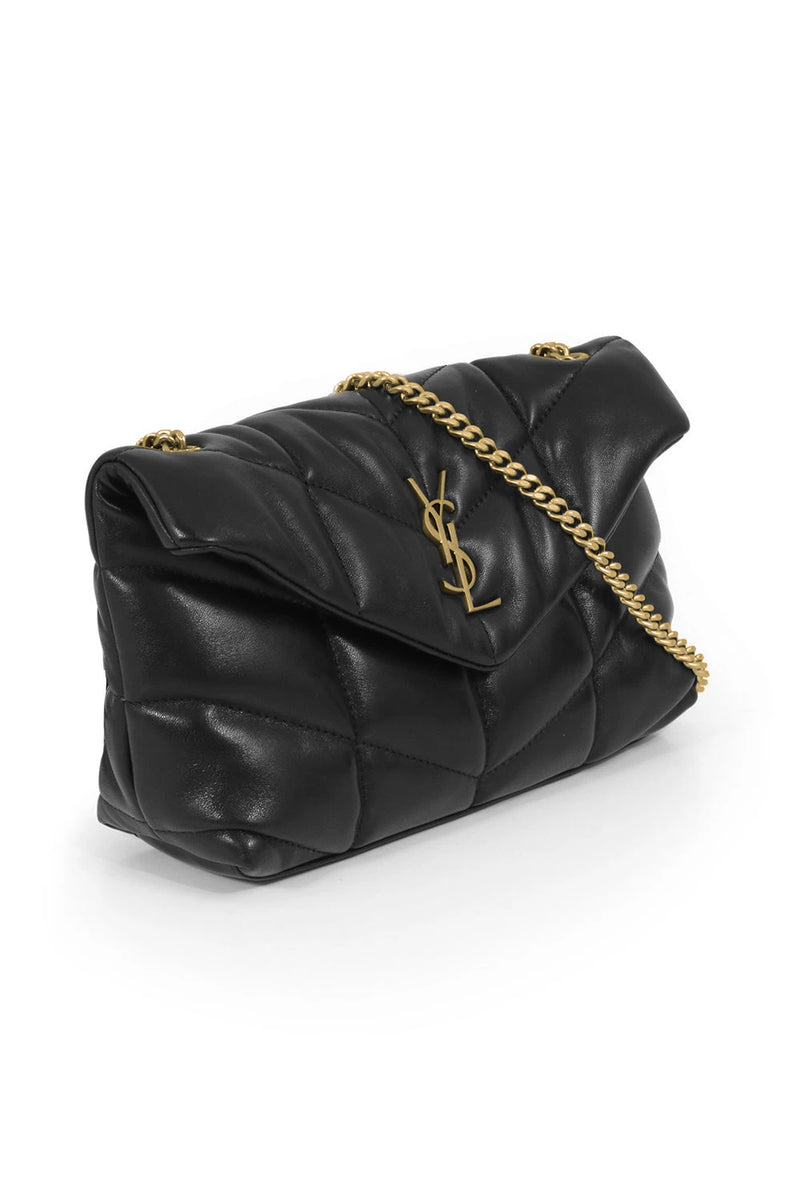 LOULOU MINI PUFFER BAG BLACK/GOLD