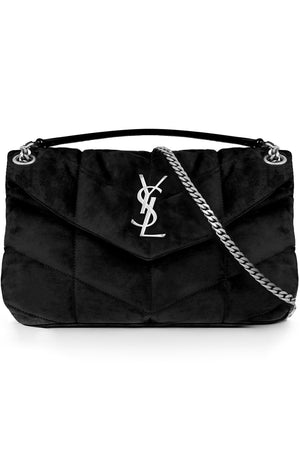 LOULOU SMALL SUEDE PUFFER BAG BLACK/SILVER