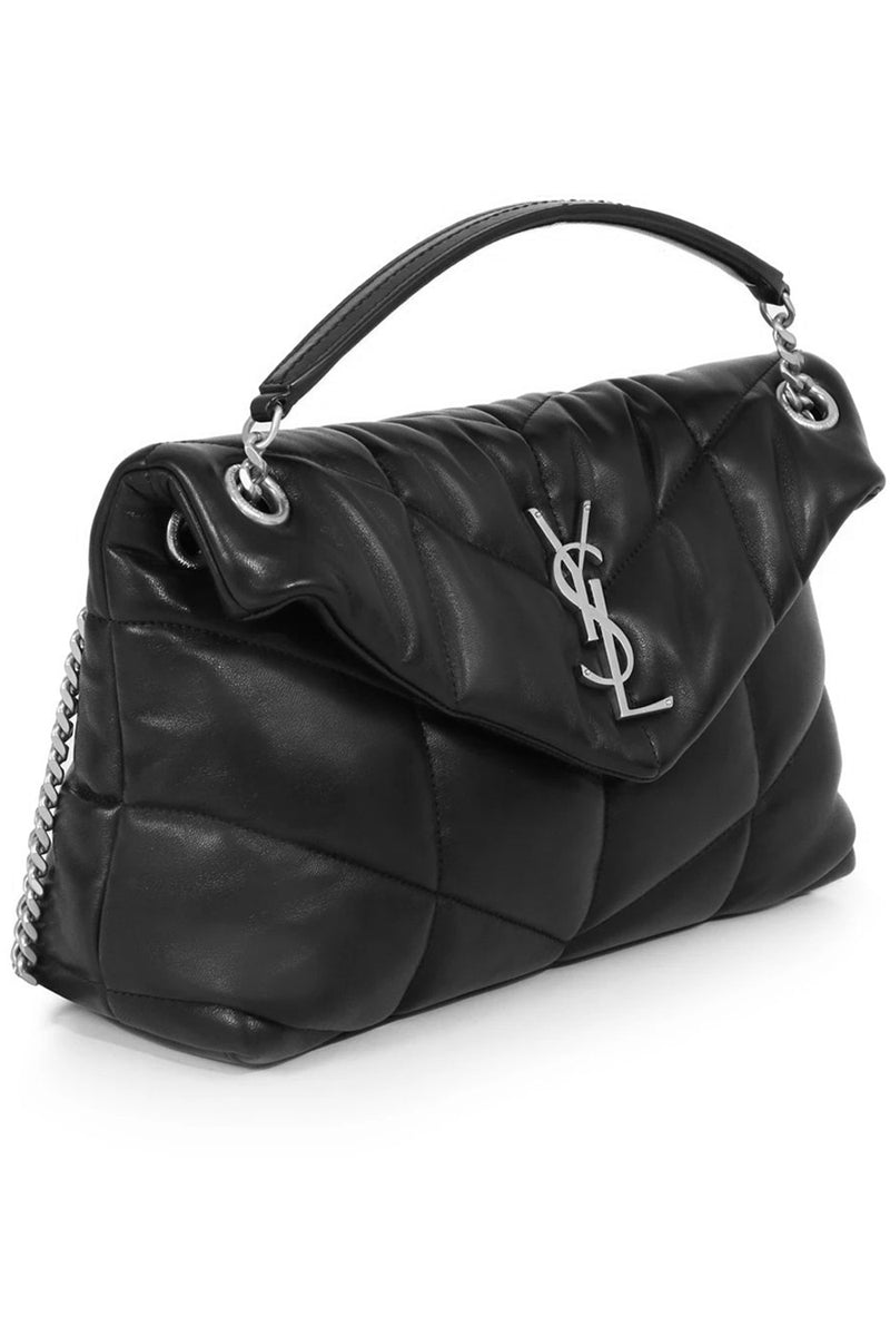 LOULOU SMALL PUFFER BAG BLACK/SILVER