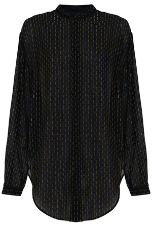 MICRO STUDDED BLOUSE L/S BLACK