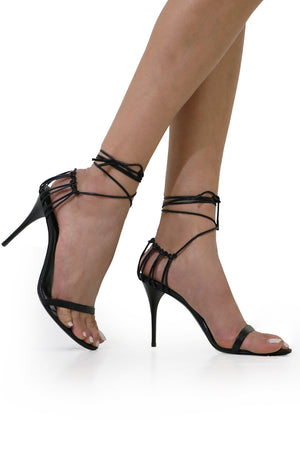 LEXI LACE BACK HEEL 90MM BLACK