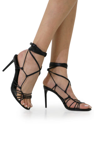 ROBIN STRAPPY LACE UP HEEL 85MM BLACK