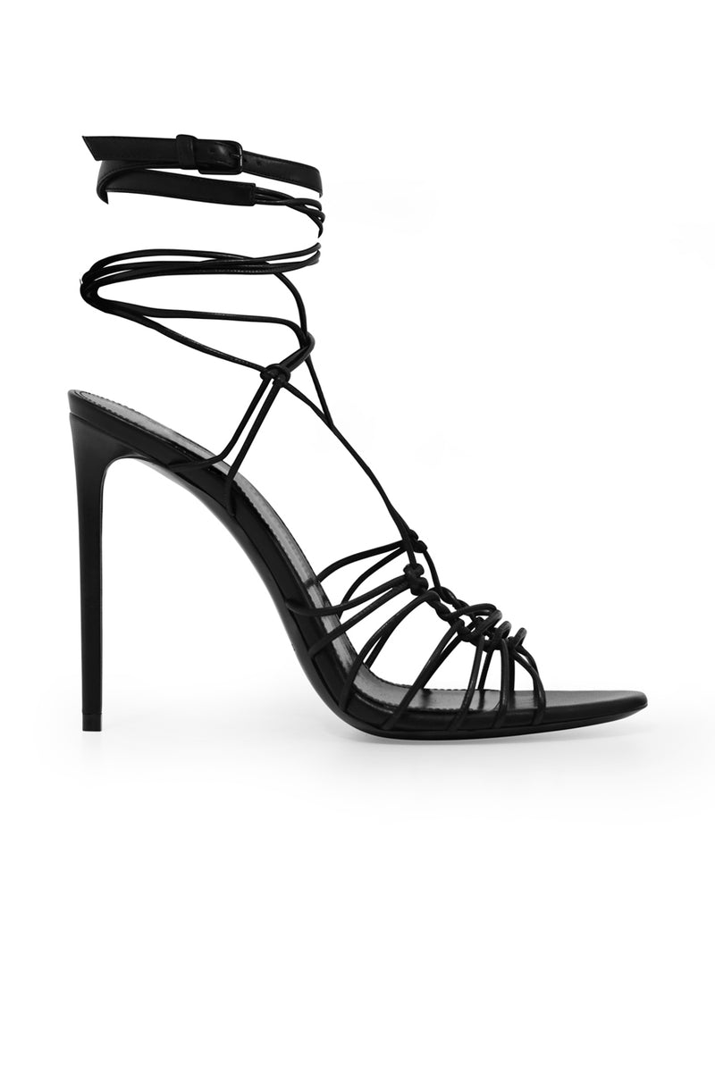 ROBIN STRAPPY LACE UP HEEL 105MM BLACK