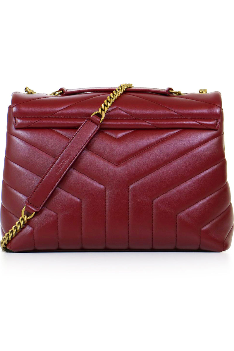 LOULOU SMALL FLAP BAG OPYUM RED/GOLD