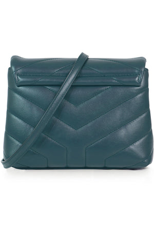 LOULOU TOY STRAP BAG PETROL GREEN/SILVER