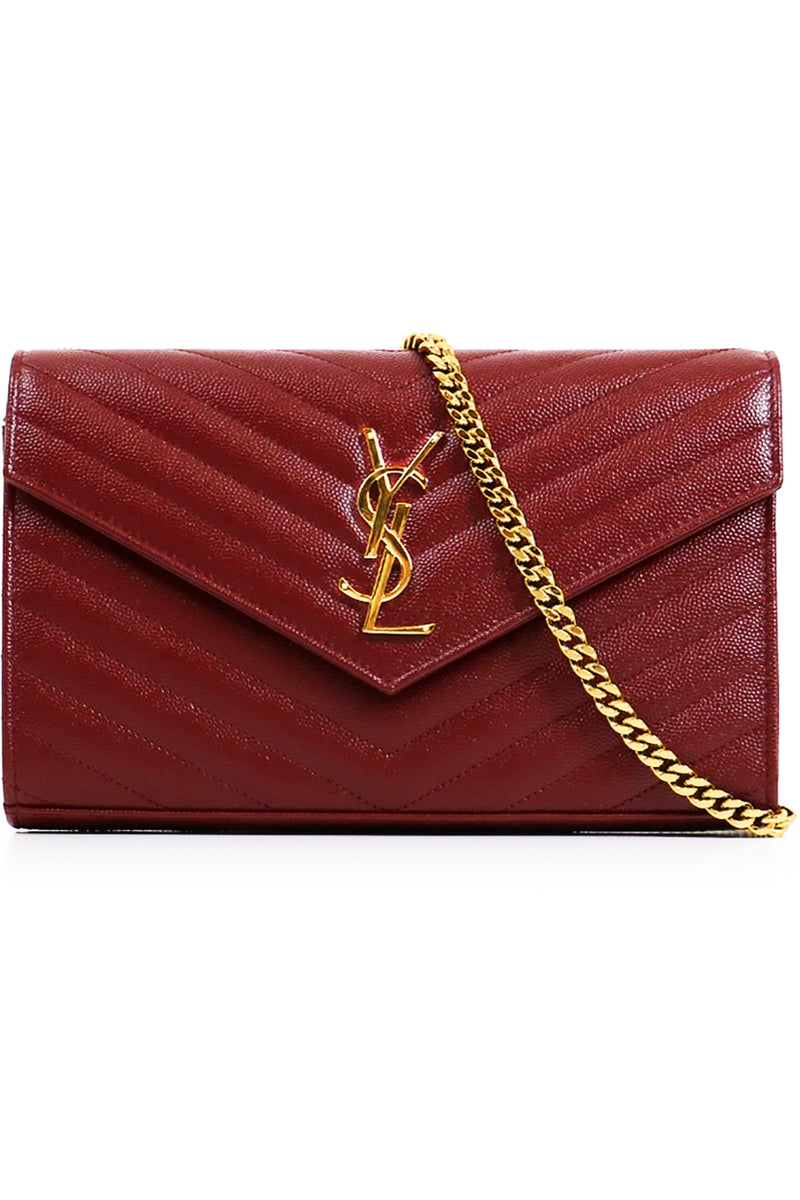 MONOGRAMME QUILTED CHAIN WALLET OPYUM RED/GOLD