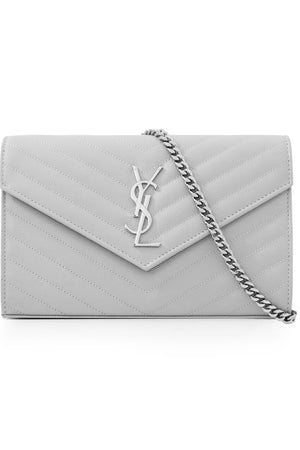 MONOGRAMME QUILTED CHAIN WALLET GRANITE/SILVER
