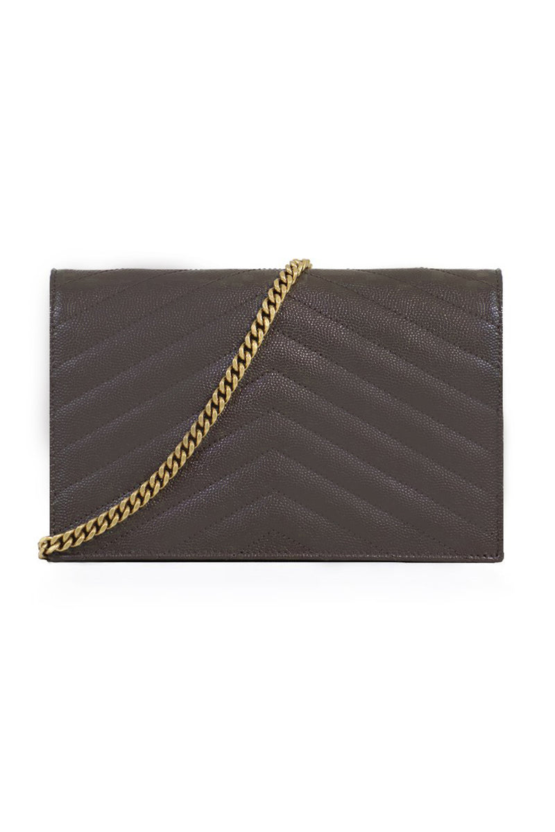 MONOGRAMME ENVELOPE QUILTED CHAIN WALLET PEBBLE/GOLD