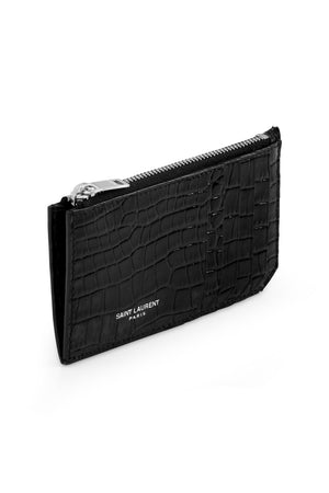 EMBOSSED CROC ZIPPED FRAGMENTS CARDHOLDER BLACK