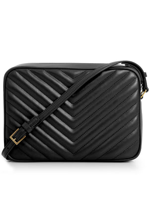 LOU QUILTED CAMERA BAG BLACK/GOLD