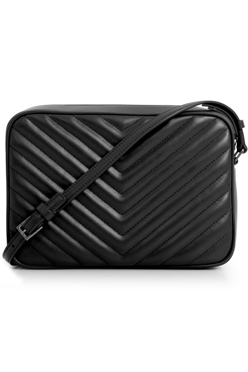 LOU QUILTED CAMERA BAG BLACK/SILVER