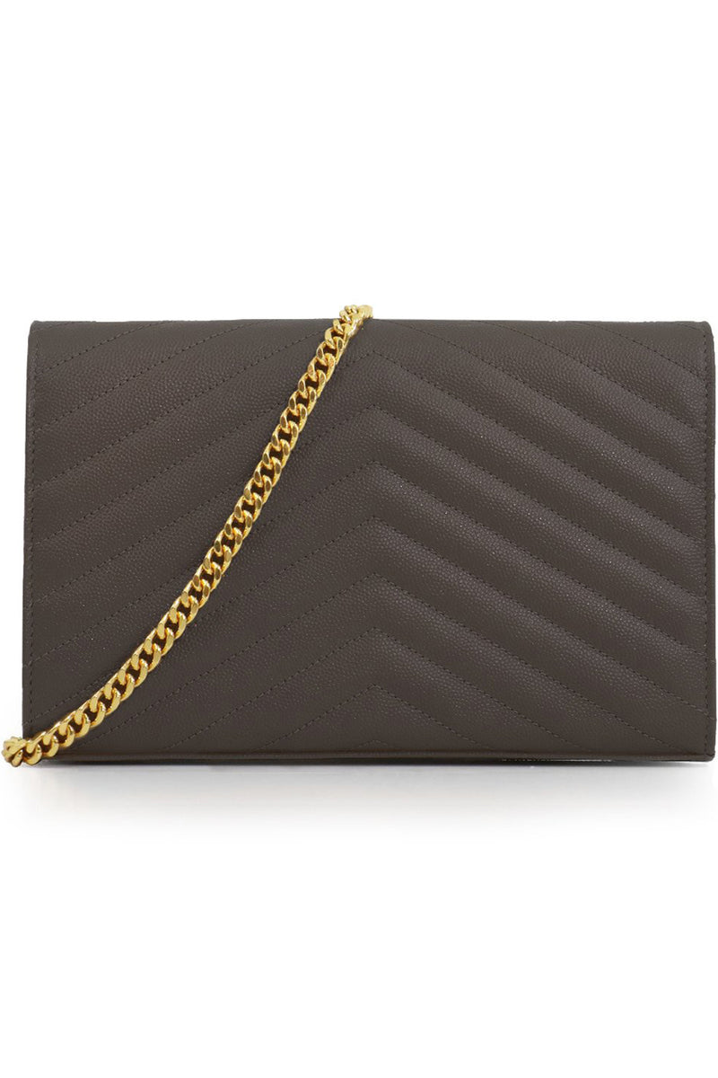 MONOGRAMME QUILTED CHAIN WALLET PEBBLE/GOLD