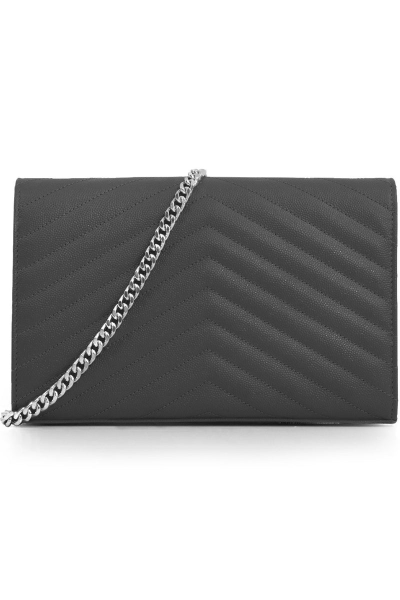 MONOGRAMME QUILTED CHAIN WALLET STORM/SILVER