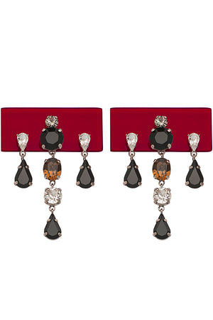 PERSPEX RECTANGULAR DROP EARRINGS BORDEAUX