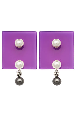 PERSPEX SQUARE STUD EARRINGS PURPLE