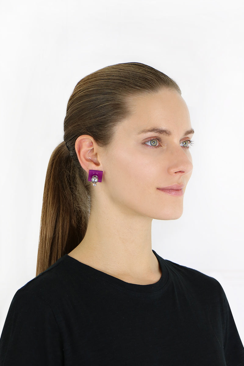 PERSPEX SMALL SQUARE STUD EARRINGS PURPLE