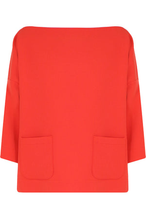 TISSUE SWING TOP WITH POCKETS 3/4SL RED