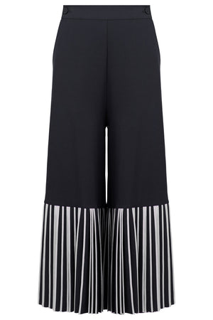 BOTTOM PLEAT CULOTTES DARK GREY/IVORY