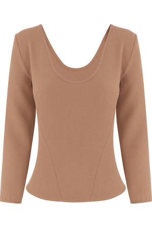 TISSUE BODICE TOP 3/4SL NUTMEG