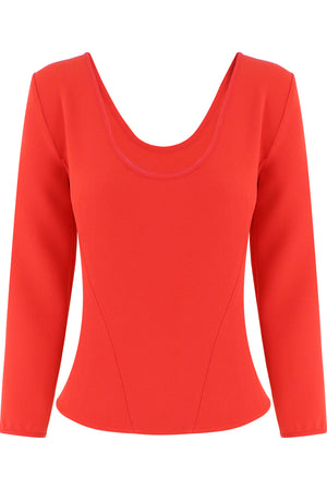 TISSUE BODICE TOP 3/4SL RED