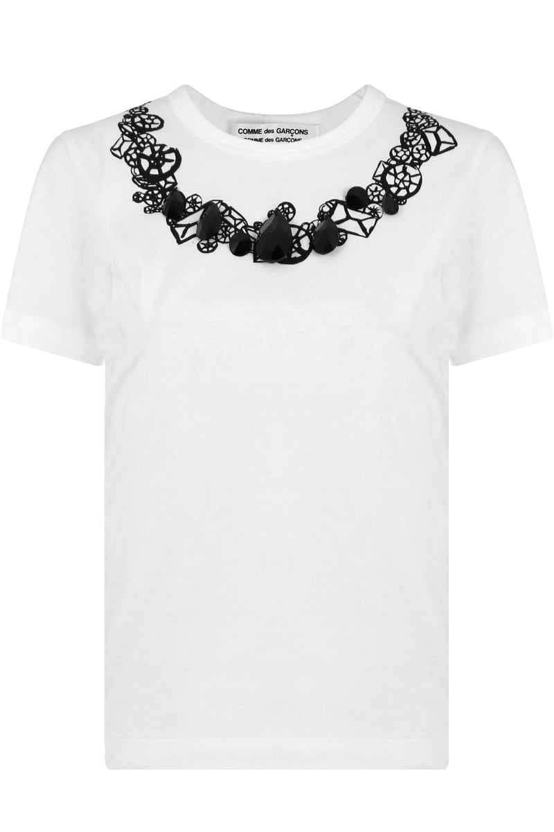 JEWEL EMBROIDERED T-SHIRT WHITE/BLACK