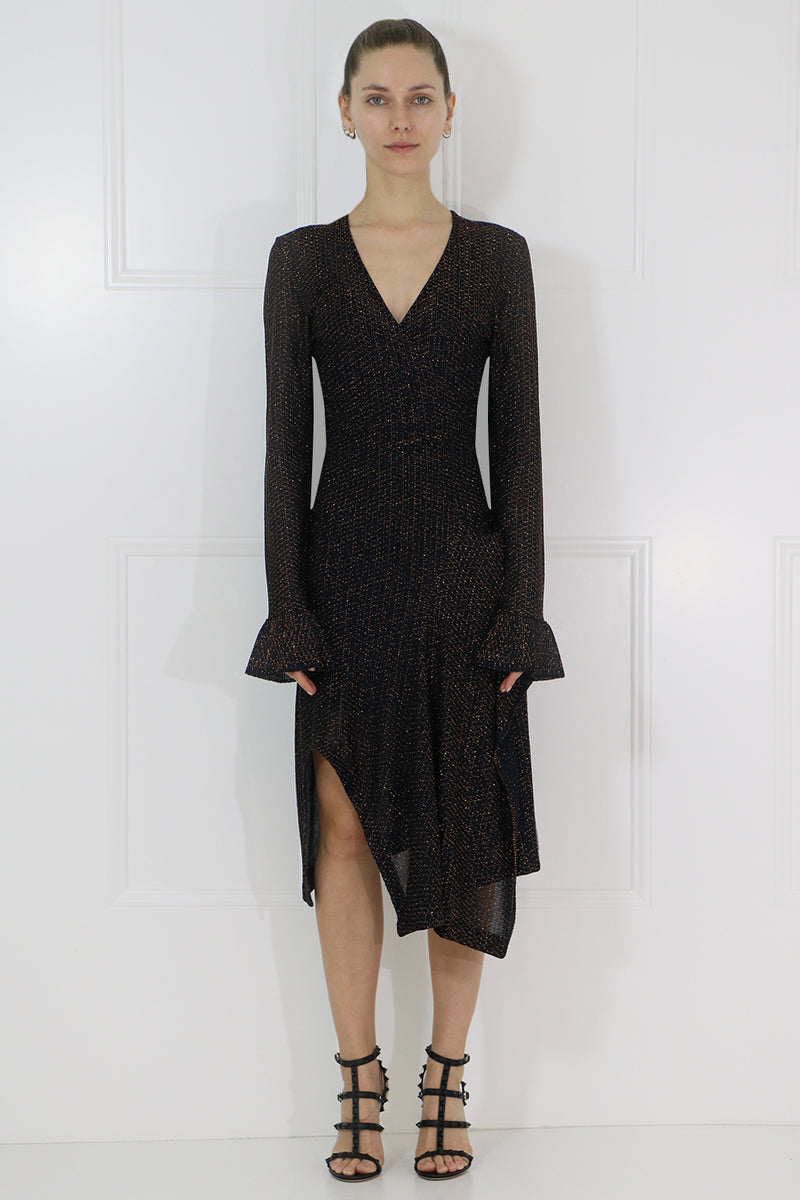 LUREX WRAP KNIT DRESS L/S NAVY/ORANGE