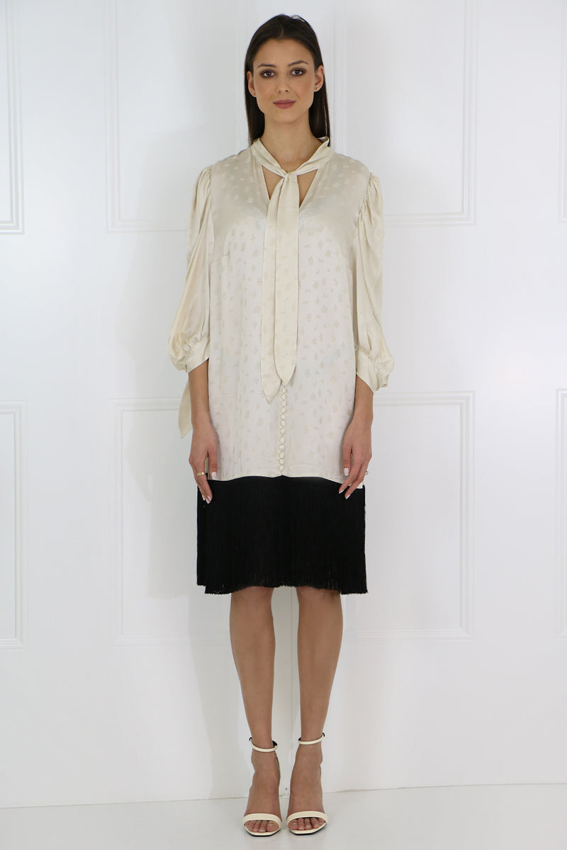 GAZA JACQUARD DRESS L/S CREAM/BLACK