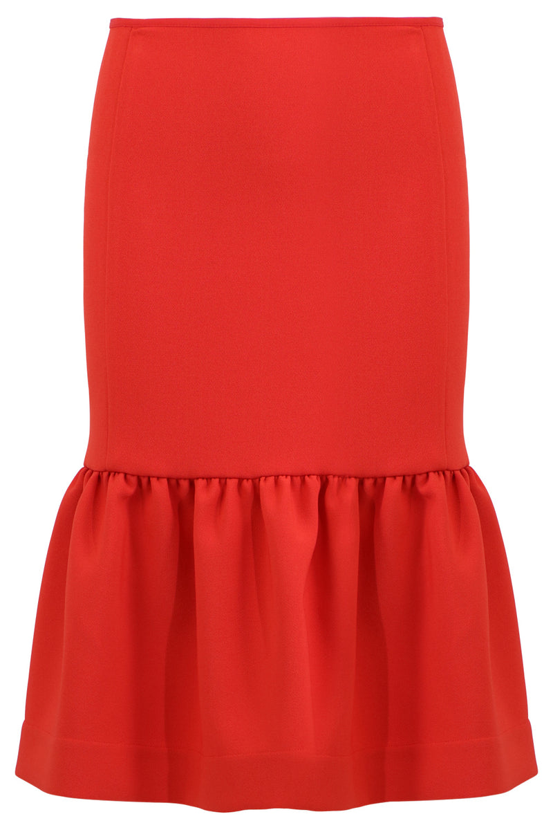 TISSUE MIDI PEPLUM SKIRT RED