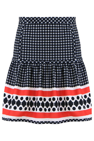 QUATRE SAISON MINI PEPLUM SKIRT RED