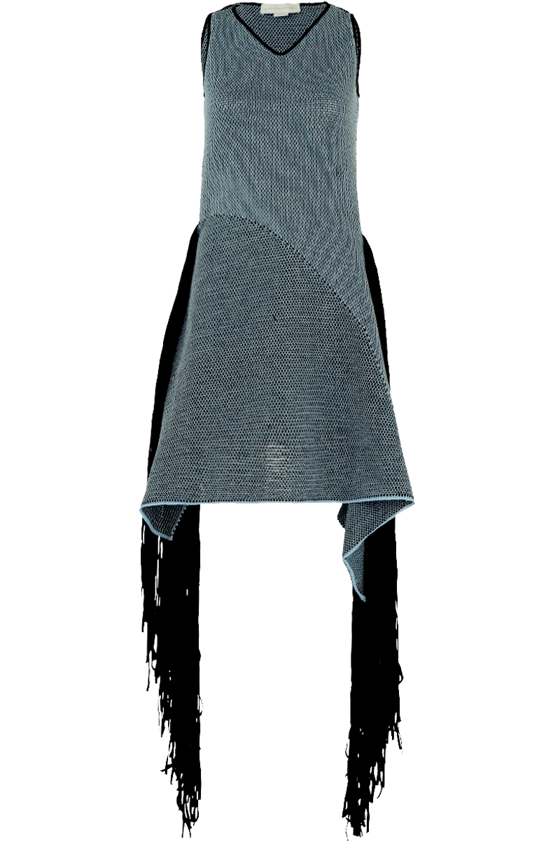 DISTRESSED MESH KNIT DRESS WITH FRINGING BLACK/BLUE