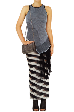 DISTRESSED MESH KNIT TOP WITH FRINGING BLACK/BLUE