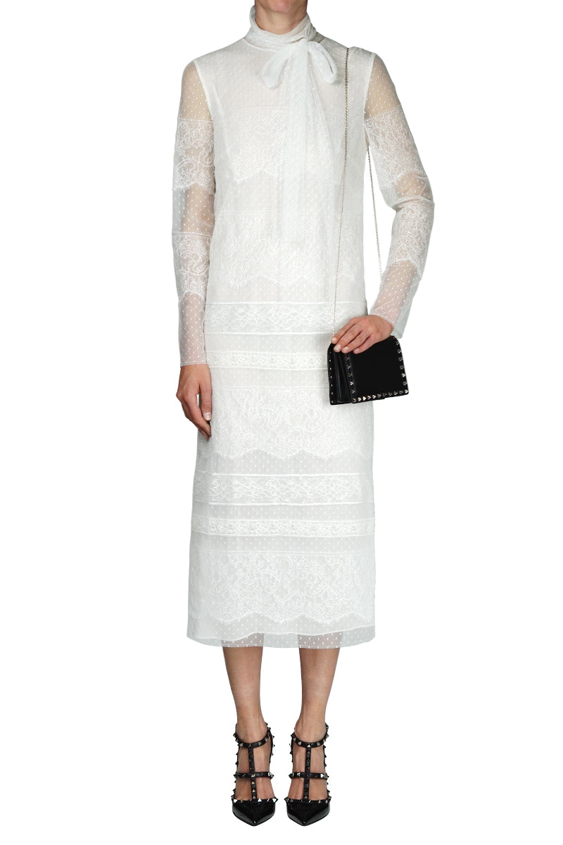 LACE ANKLE LENGTH STRAIGHT DRESS IVORY