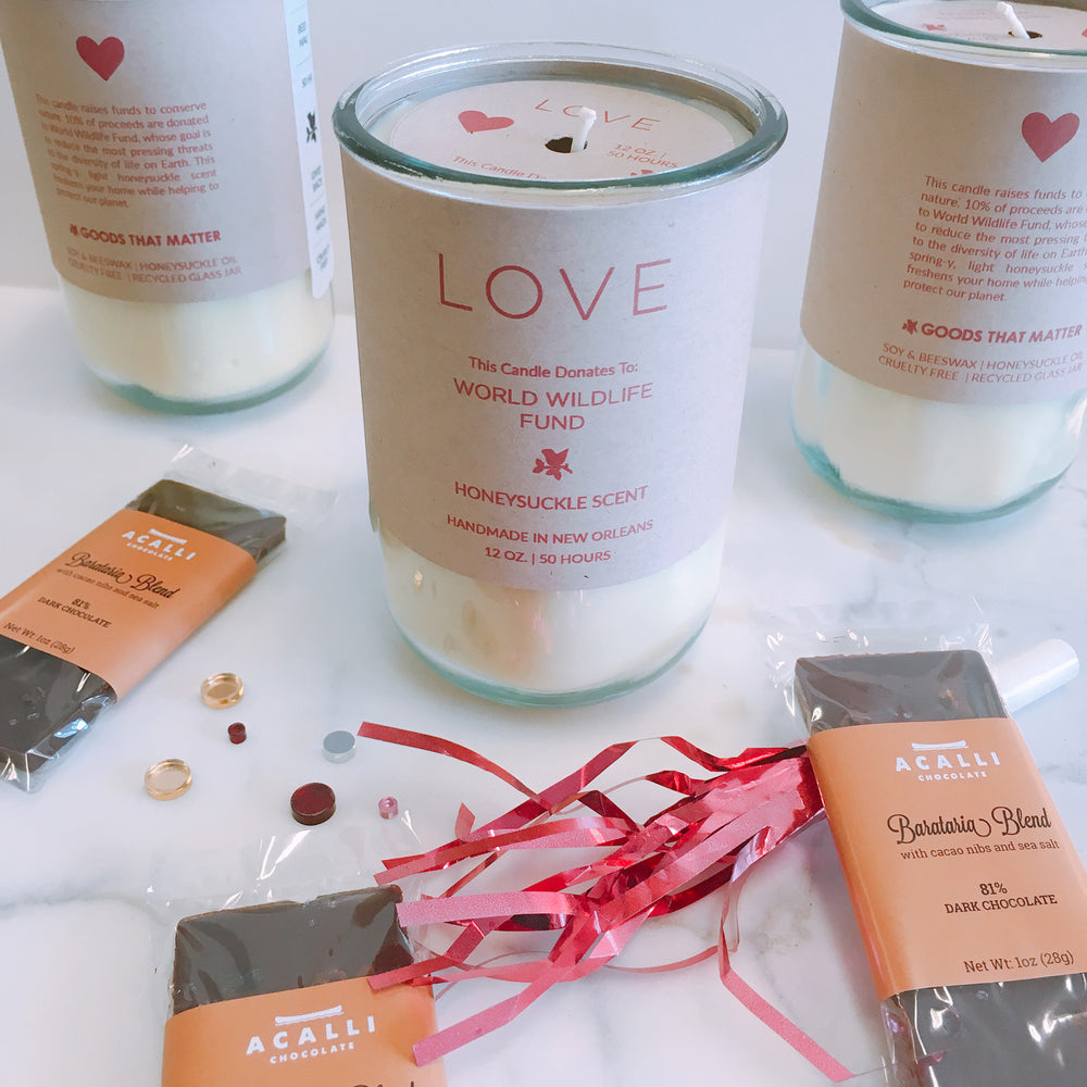 Valentine Special Gift Set: Love Candle / Acalli Chocolate