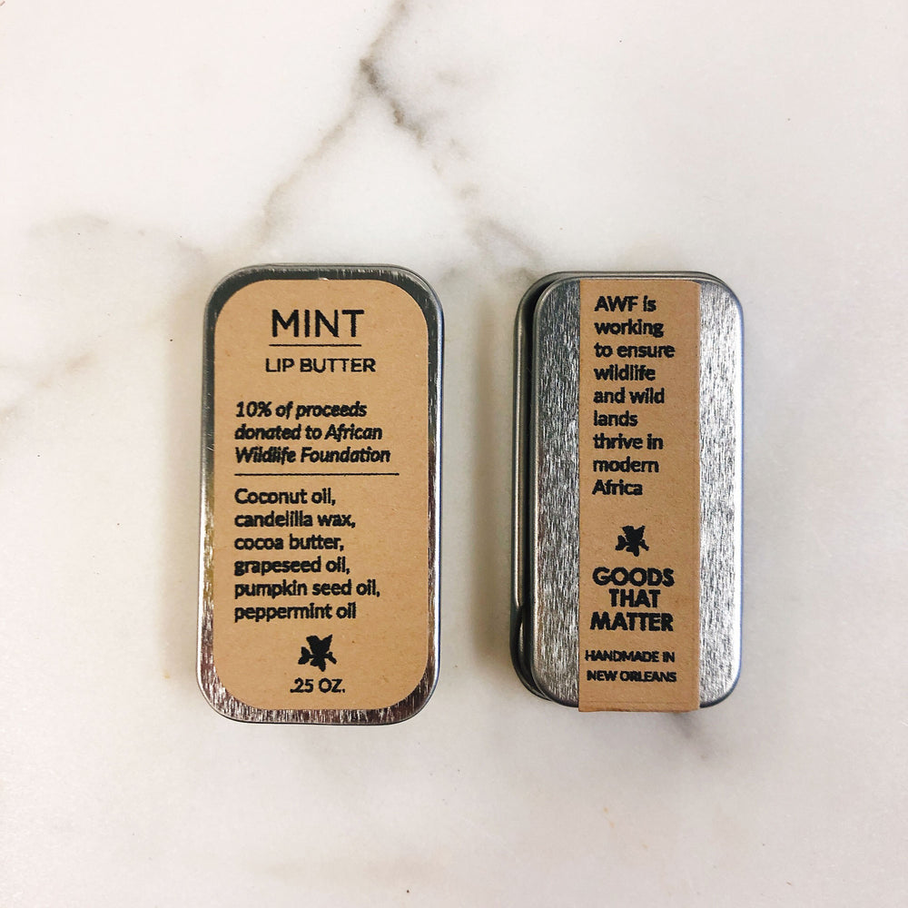 MINT Lip Butter - Vegan, gives to African Wildlife Foundation