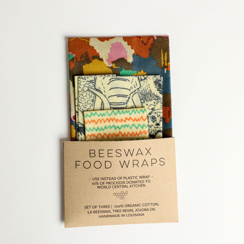 Beeswax Food Wraps - Wildlife Set, Organic Cotton, gives to World Central Kitchen