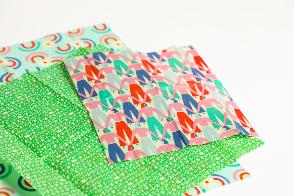 Beeswax Food Wraps - Let's Link Arms Set, Organic Cotton, gives to World Central Kitchen