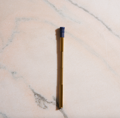 Telescoping Stainless Steel Drinking Straw - Navy Silicone Tip